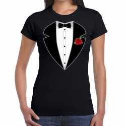 Gangster / maffia pak kleding t shirt zwart feest dames