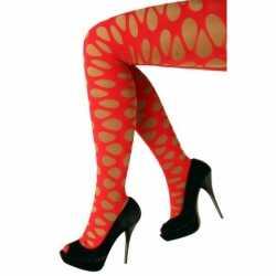 Gaten panty in neon rode kleur