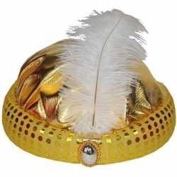 Goud arabisch sultan hoedje diamant veer