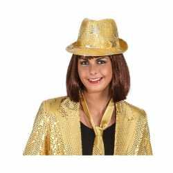 Goud glimmend disco hoedje sterren