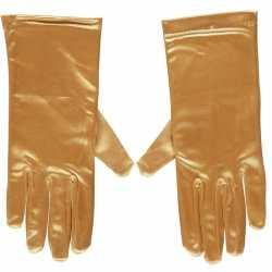 Gouden gala handschoenen kort van satijn 20 centimeter