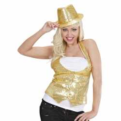 Gouden gilet pailletten feest dames