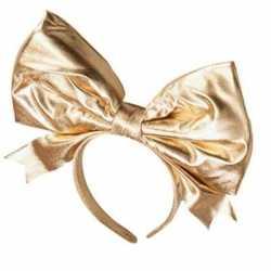 Gouden haarband mega strik