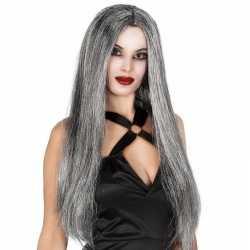 Grijze heksen damespruik lang haar