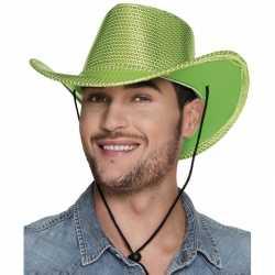 Groene cowboyhoed howdy pailletten feest volwassenen