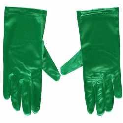 Groene gala handschoenen kort van satijn 20 centimeter
