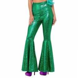 Groene zeemeermin broek wijde pijpen