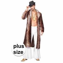 Grote maat bruine pimp/pooier verkleed jas feest heren