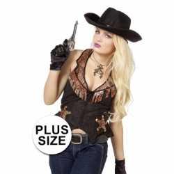 Grote maat cowboy vest feest dames