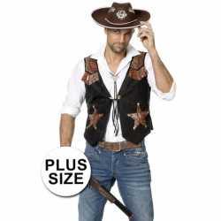 Grote maat cowboy vest feest heren