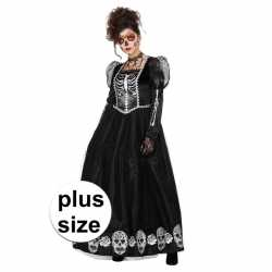 Grote maat day of the dead halloween gothic jurk feest dames