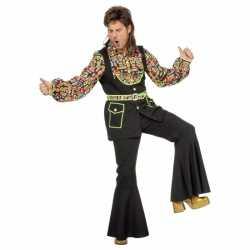 Grote maat gekleurde disco blouse feest heren