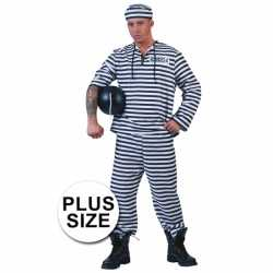 Grote maat gevangenen pak gestreept pet