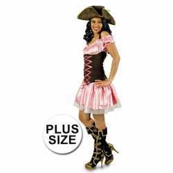 Grote maat verkleedkleding roze piratenjurkje