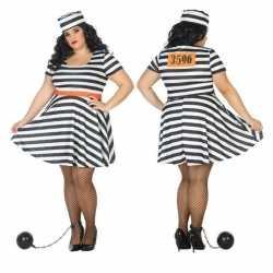 Grote maten gevangene/boef bonnie verkleed kleding feest dames
