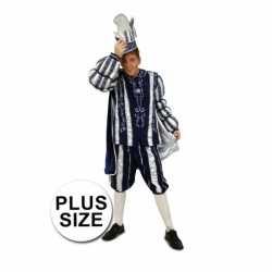 Grote maten prins carnavals kleding blauw/wit