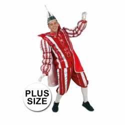 Grote maten prins carnavals kleding rood/wit
