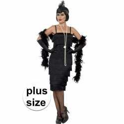 Grote maten zwarte jaren 20 flapper jurk lang feest dames