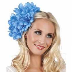Haarbloem blauwe dahlia clip