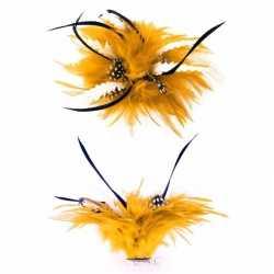 Haarbloem gouden blauwe veertjes