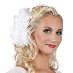 Haarbloem witte dahlia clip