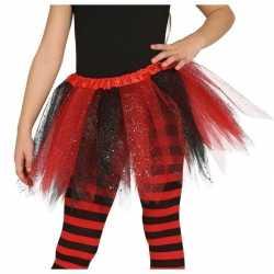 Heksen verkleed petticoat/tutu zwart/rood glitters feest meisjes