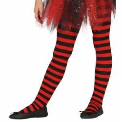 Heksen verkleedaccessoires panty maillot rood/zwart feest meisjes