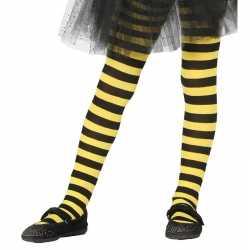 Heksen verkleedaccessoires panty maillot zwart/geel feest meisjes