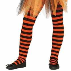Heksen verkleedaccessoires panty maillot zwart/oranje feest meisj