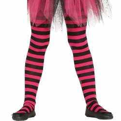 Heksen verkleedaccessoires panty maillot zwart/roze feest meisjes