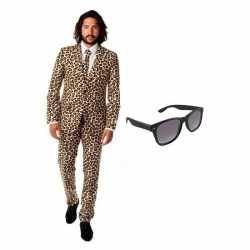 Heren kleding luipaard afgebeeld maat 56 (3xl) gratis zonneb