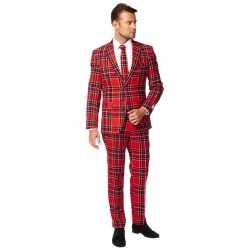 Heren verkleed pak/kleding rode schotse afgebeeld