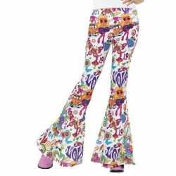 Hippie broek wit love feest dames