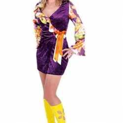 Hippie jurk in paars strik