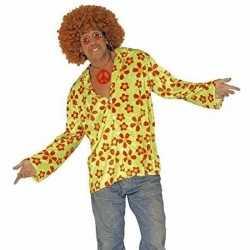 Hippie verkleed overhemd groen/oranje feest heren