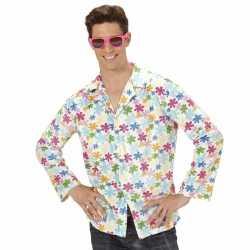 Hippie verkleed overhemd wit/gekleurd feest heren