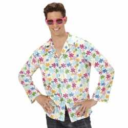 ad657d8e434 Hippie verkleed overhemd wit/gekleurd feest heren