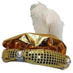 Hoed sultan goud pluim parel