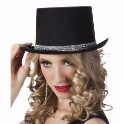 Hoge hoed zwart steentjes feest dames