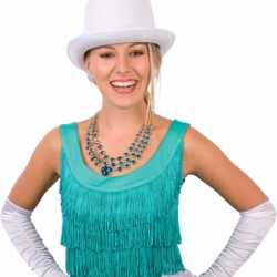Hoge hoeden wit feest volwassenen