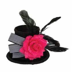 Hoge zwarte mini hoedje roos veren op clip feest dames