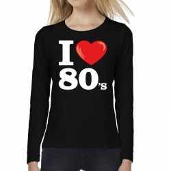 I love 80s / eighties long sleeve t shirt zwart dames