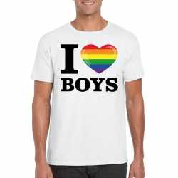 I love boys regenboog t shirt wit heren