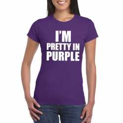 I'm pretty in purple t shirt paars dames