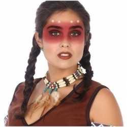 Indianen verkleed accessoire ketting kralen veren