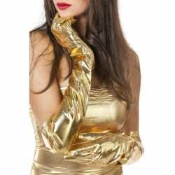 Lange glimmende handschoenen goud