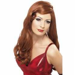 Lange rode stijlvolle damespruik