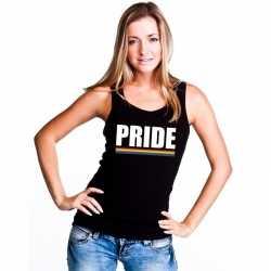 Lgbt singlet shirt/ tanktop zwart pride dames