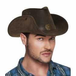 Luxe bruine cowboyhoed nevada lederlook feest volwassenen