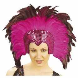 Luxe hoofdtooi fuchsia roze veren feest volwassenen